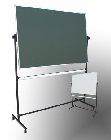 Tablica magnetyczno-suchościeralna w ramie aluminiowej 100x150 cm na stojaku biało-zielona